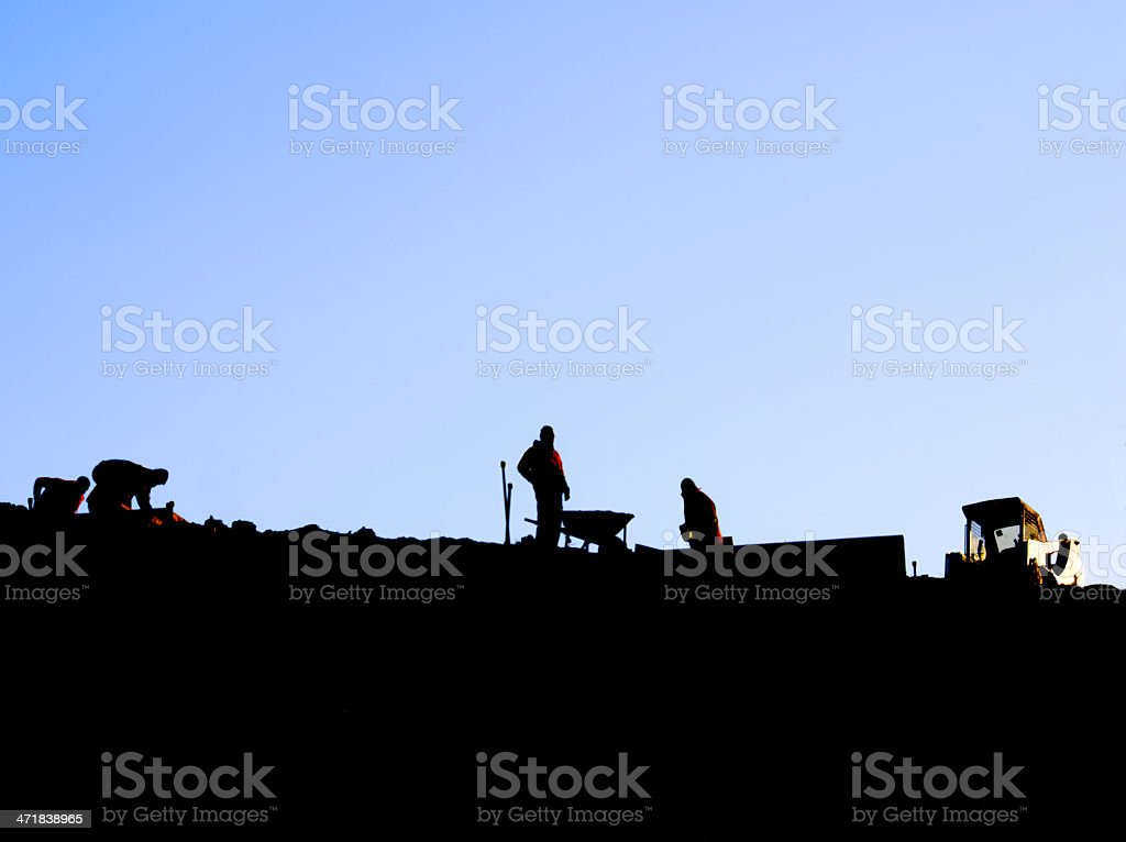 workers in the morning stock photo