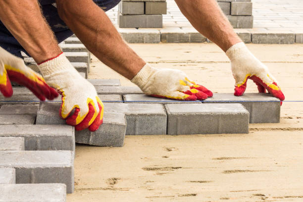 workers lay paving tiles, construction of brick pavement, close up architecture background stock photo
