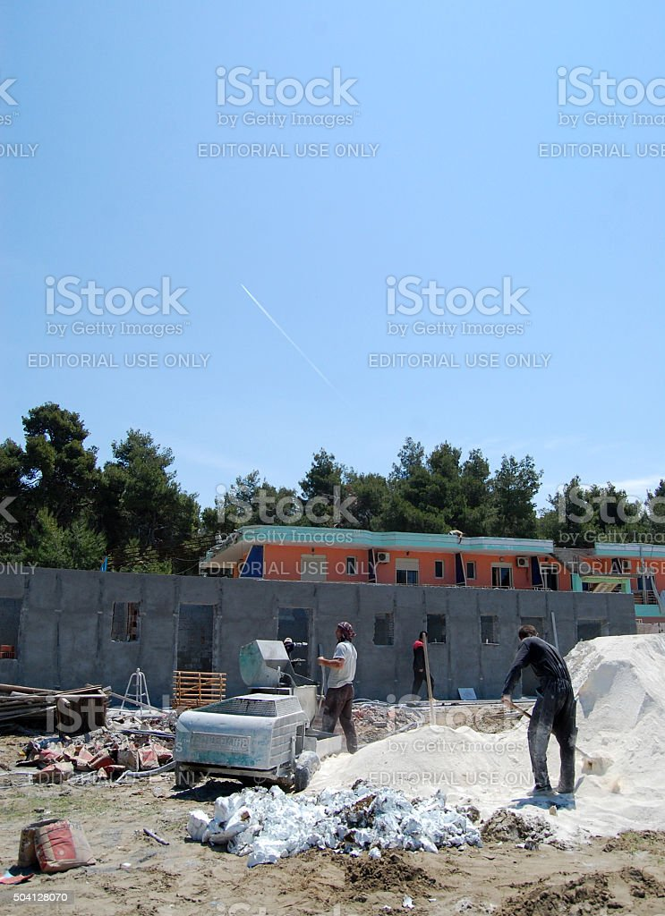 workers on a conctruction site stock photo
