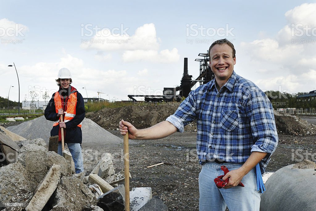 workers on a construction site royalty-free stock photo