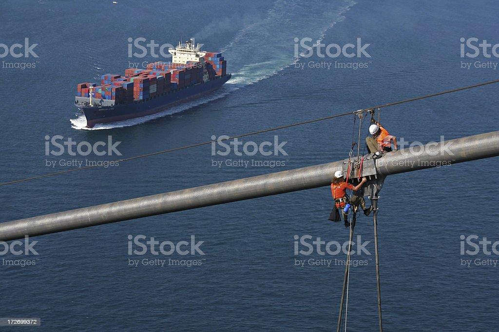 Workers on Bridge stock photo