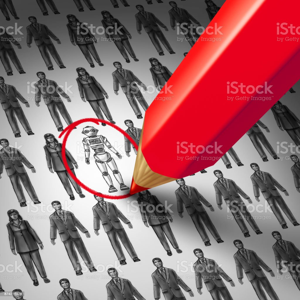 Workers replaced by robots stock photo
