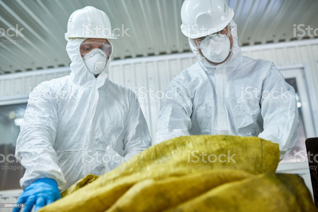 Workers Sorting Plastic on Recycling Plant stock photo
