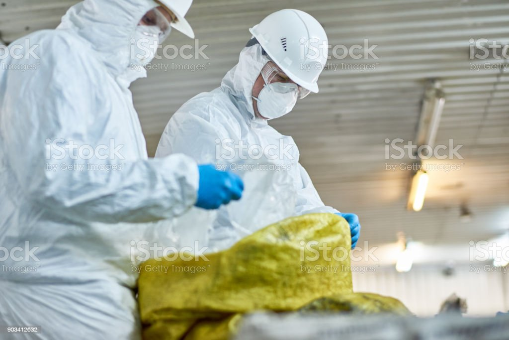 Workers Sorting Plastic on Trash Recycling Plant stock photo
