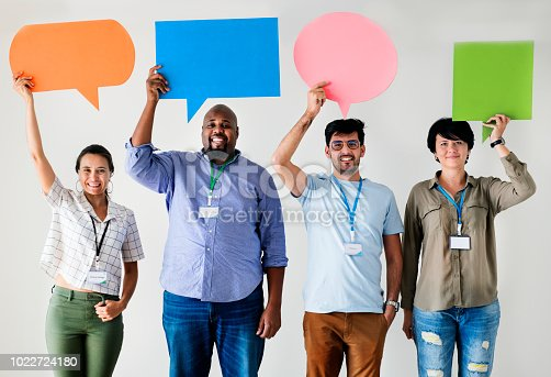 812513444 istock photo Workers standing and holding message boxes 1022724180
