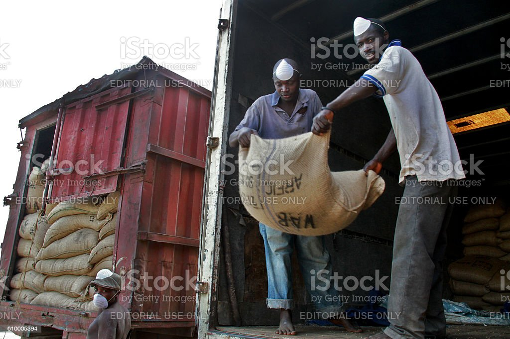 Workers unloading sacks of coffee, Burundi stock photo