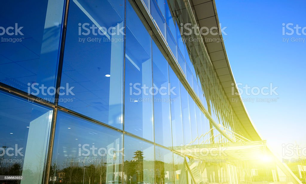 Workers wash the modern office building stock photo
