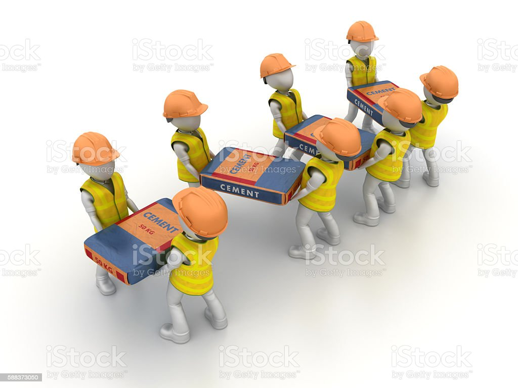 Workers With Cements Bags stock photo