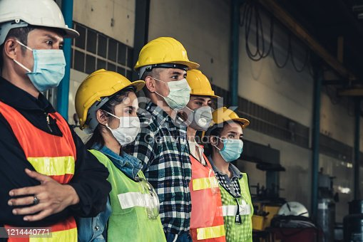 Factory workers with face mask protect from outbreak of Corona Virus Disease 2019 or COVID-19.