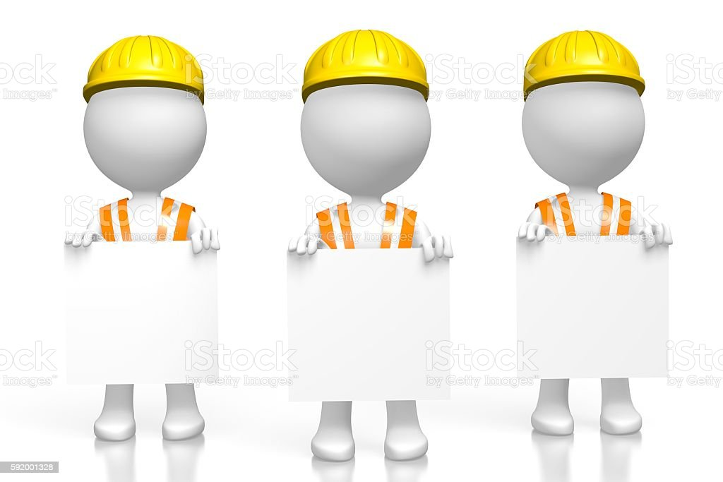 3D workers with pieces of paper stock photo