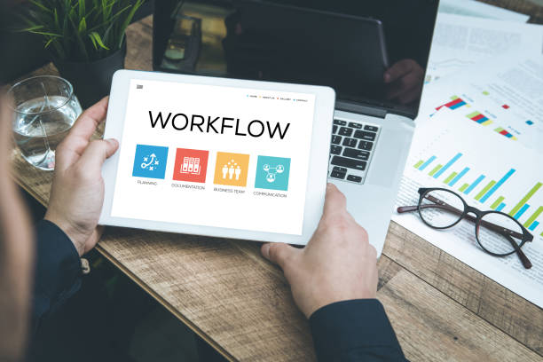 workflow concept on tablet pc screen - flow chart stock photos and pictures