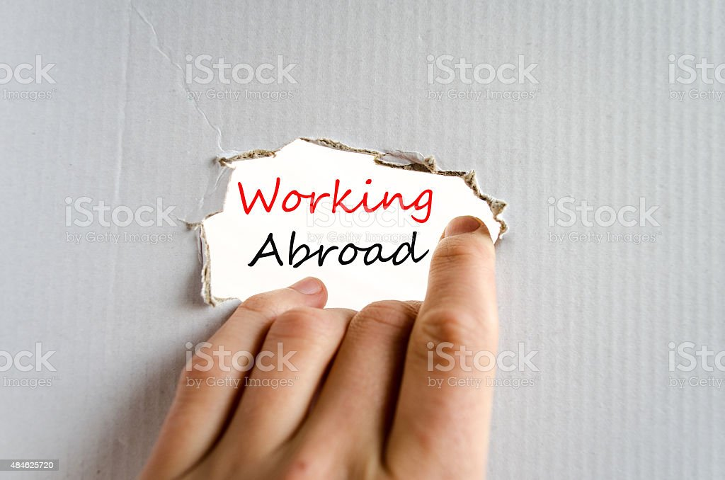 Working abroad Text Concept stock photo