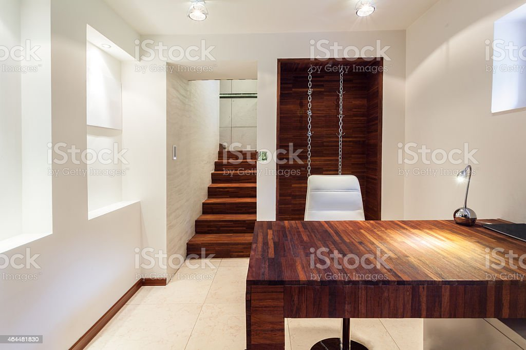 Working area in modern apartment stock photo