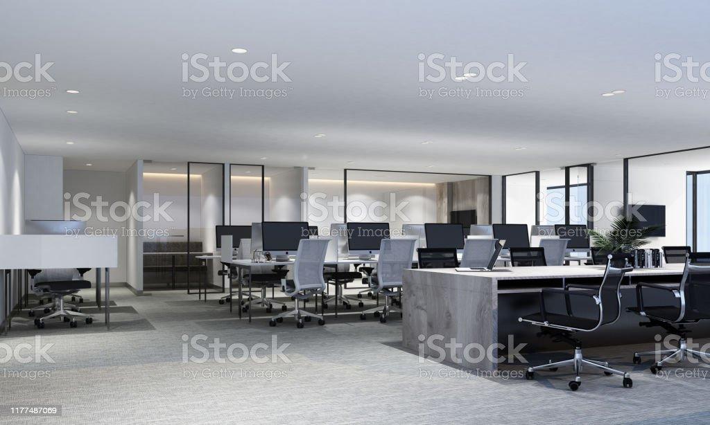 カーペットフロアと会議室付きのモダンなオフィスのワーキングエリア。内部 3D レンダリング - 3Dのロイヤリティフリーストックフォト