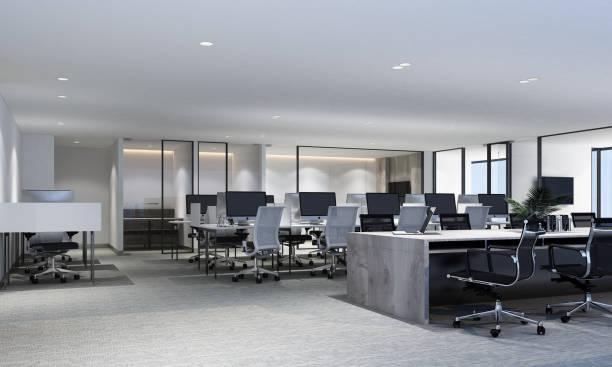 現代辦公室工作區,帶地毯地板和會議室。內部 3d 渲染 - 無人 個照片及圖片檔