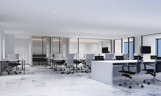 白い大理石の床と会議室が備まるモダンなオフィスのワーキングエリア。内部 3d レンダリング - オフィス家具 ストックフォトと画像