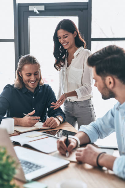 Working as team. stock photo