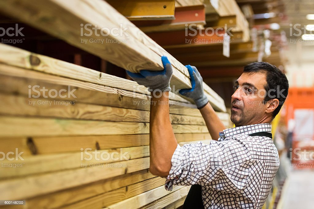 Working at a timber/lumber warehouse stock photo