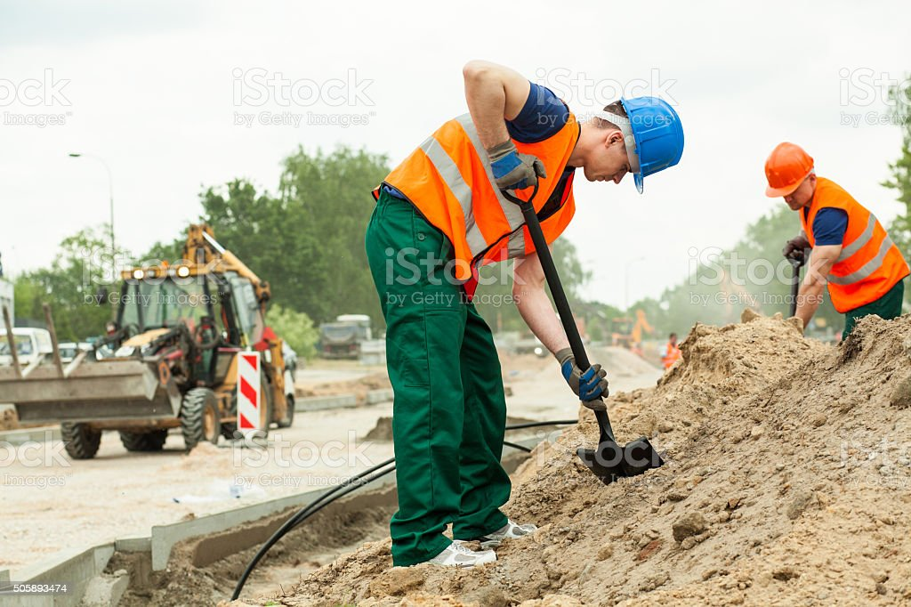 Working at construction site stock photo