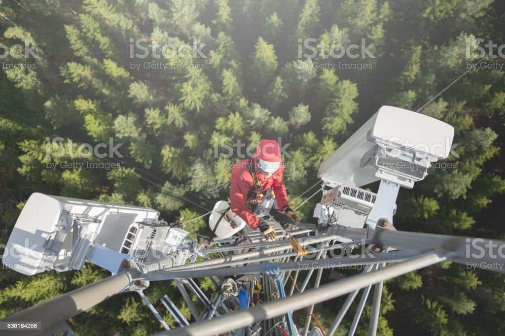 Working at height stock photo