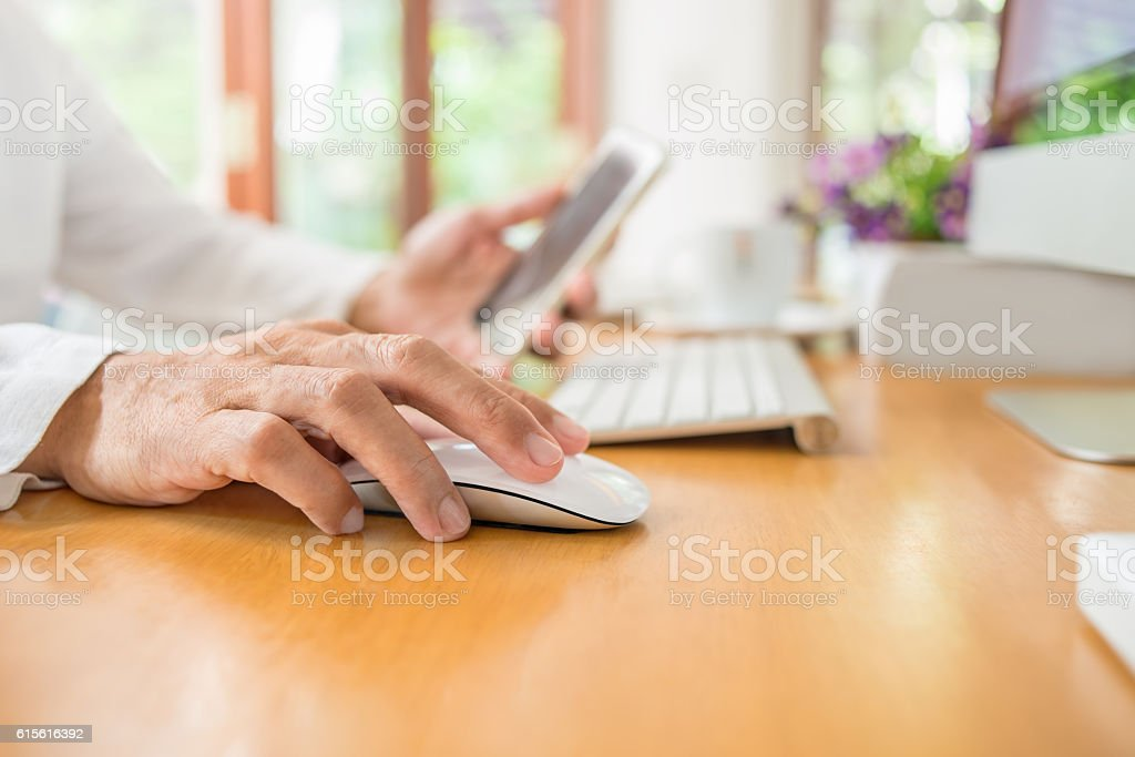 Working at home, clicks and connect stock photo