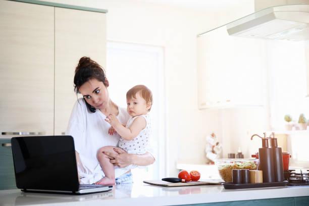 travail à domicile  - femmes actives photos et images de collection