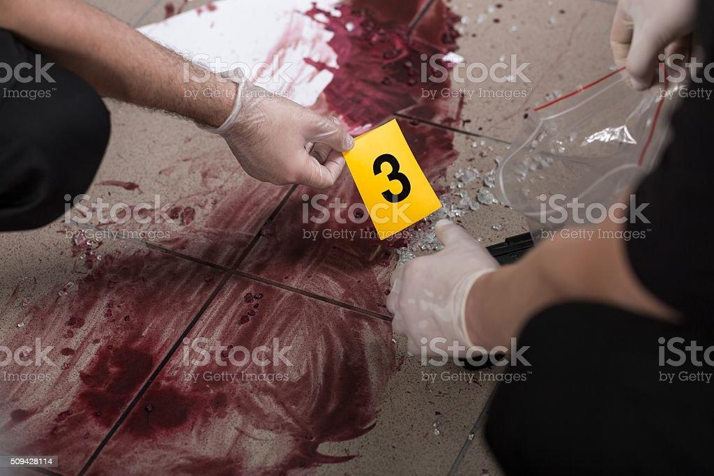 Trabalhando na cena de crime - foto de acervo