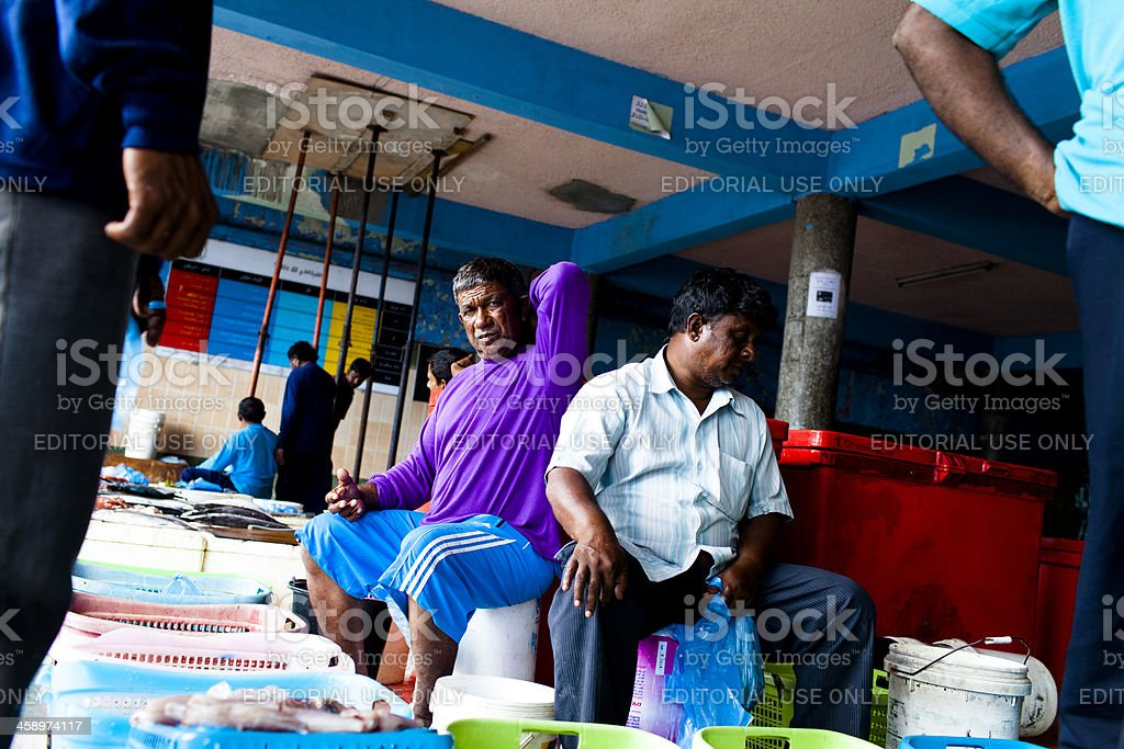 Working at the fish market royalty-free stock photo