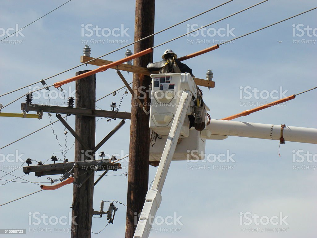 Working at the power supply system stock photo