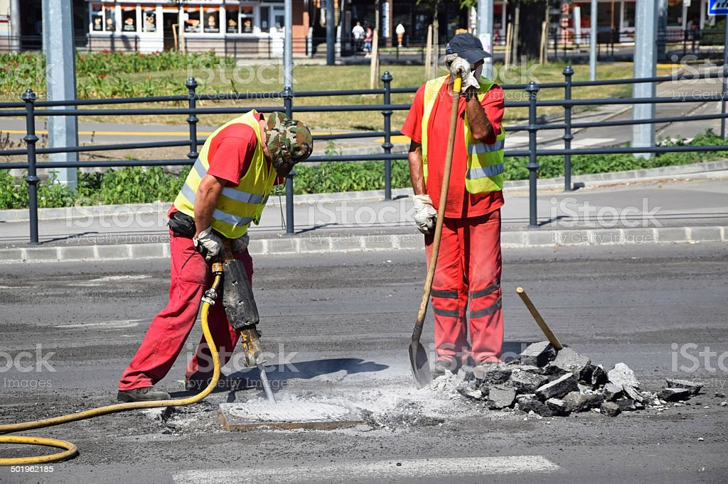Working at the road construction stock photo