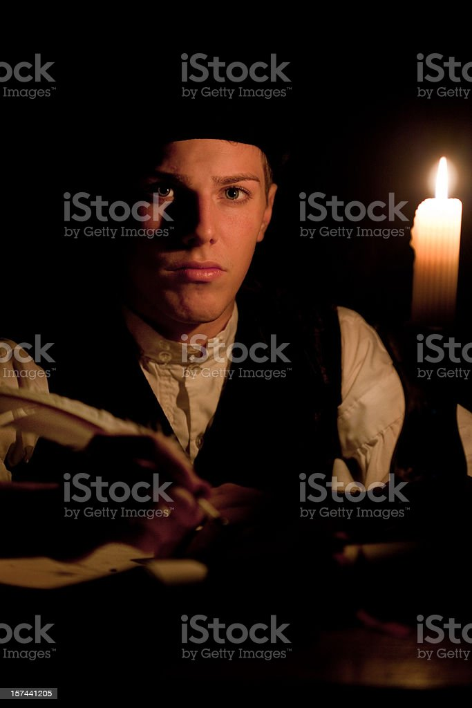 Working by Candle Light royalty-free stock photo
