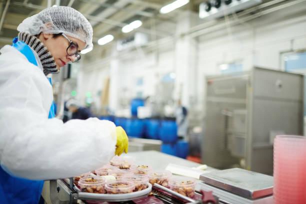 arbetar genom bearbetning linje - livsmedelstillverkningsfabrik bildbanksfoton och bilder