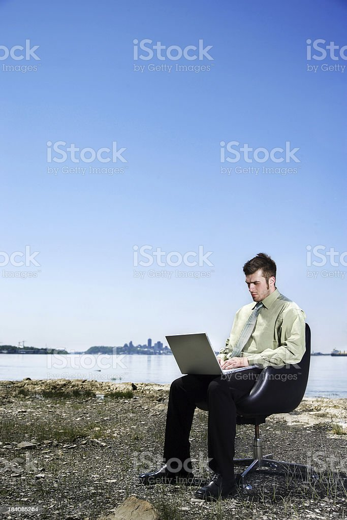 Working by the sea royalty-free stock photo