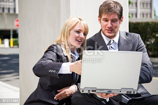 istock Working caucasian business people 91217493