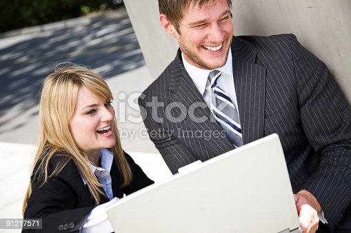 istock Working caucasian business people 91217571