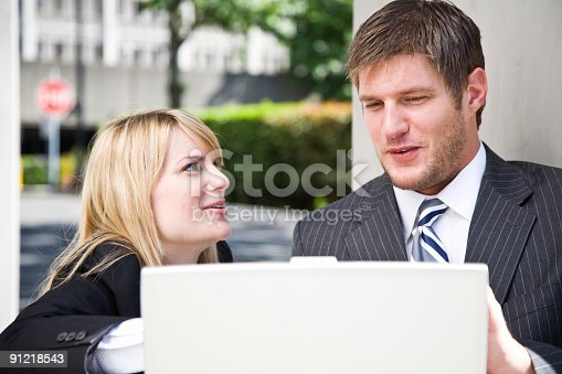 istock Working caucasian business people 91218543
