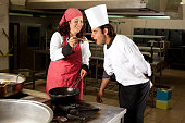 Working chefs at the cuisine