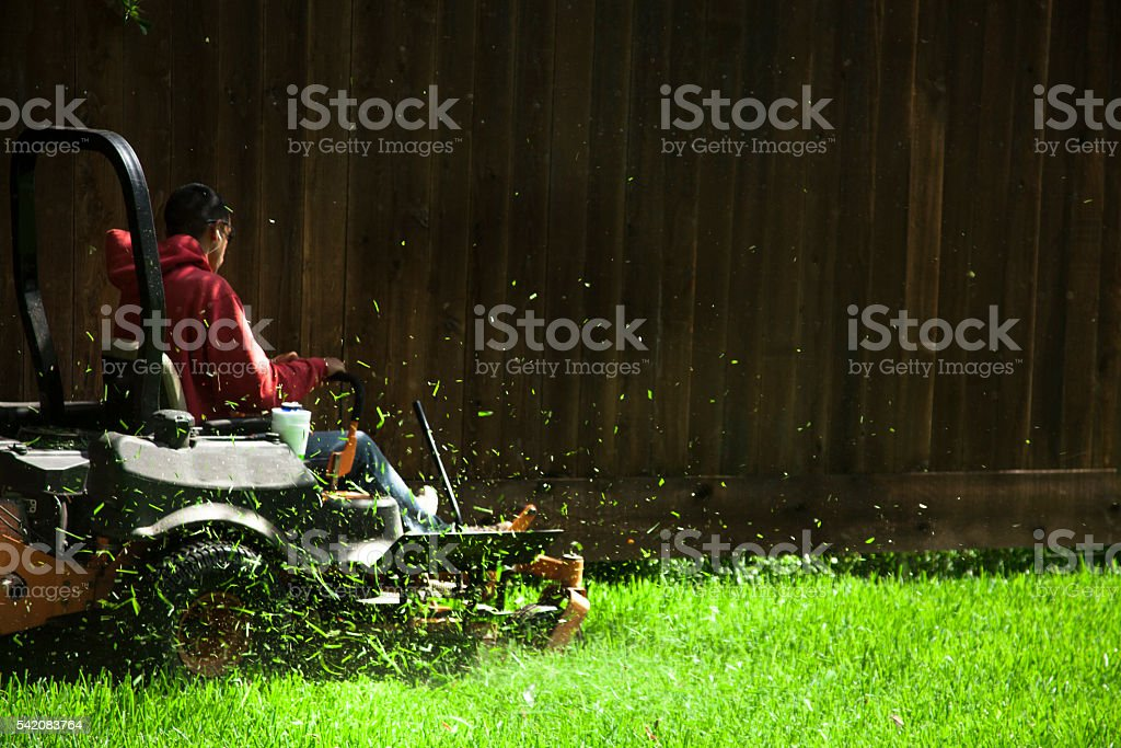 Working class.  Man mows lawn using industrial lawn mower. stock photo