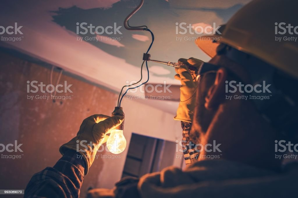 Working Contractor Electrician stock photo