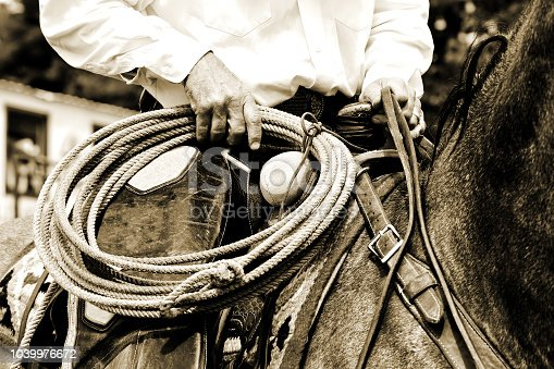 Close-up of an authentic working cowboy riding and preparing to use his rope during the course of his job - sepia tint added for vintage look and feel.