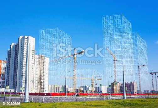 istock Working cranes and wire-frame structures 545085656