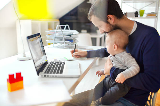 working dad - work from home stock pictures, royalty-free photos & images