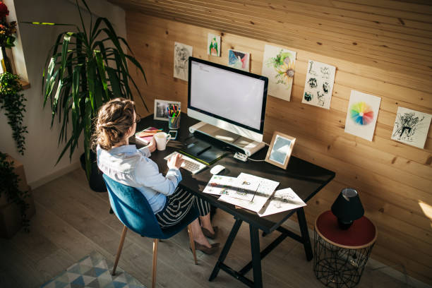 Working Day In Creative Design Studio stock photo
