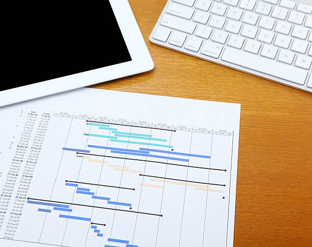 Working desk with gantt chart Working desk gantt chart stock pictures, royalty-free photos & images