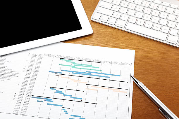 Working desk with gantt chart Working desk with gantt chart , computer tablet and keyboard gantt chart stock pictures, royalty-free photos & images