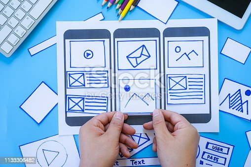 1182469817 istock photo Working desk with hands sorting wireframe screens of mobile responsive website. Developing wireframe sketch layout design mockup on smartphone,tablet screen. 1133306482