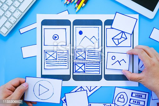 1182469817 istock photo Working desk with hands sorting wireframe screens of mobile responsive website. Developing wireframe sketch layout design mockup on smartphone,tablet screen. 1133306502