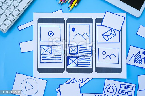 1182469817 istock photo Working desk with hands sorting wireframe screens of mobile responsive website. Developing wireframe sketch layout design mockup on smartphone,tablet screen. 1133306503