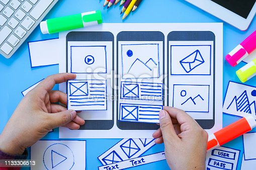 1182469817 istock photo Working desk with hands sorting wireframe screens of mobile responsive website. Developing wireframe sketch layout design mockup on smartphone,tablet screen. 1133306513