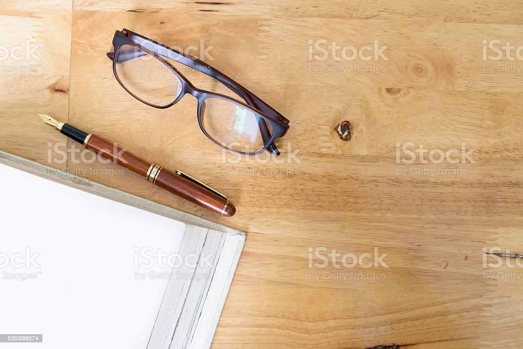 Working desktop copyspace background. stock photo